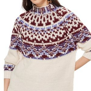 Top shop reverse fair isle mock neck sweater. New.